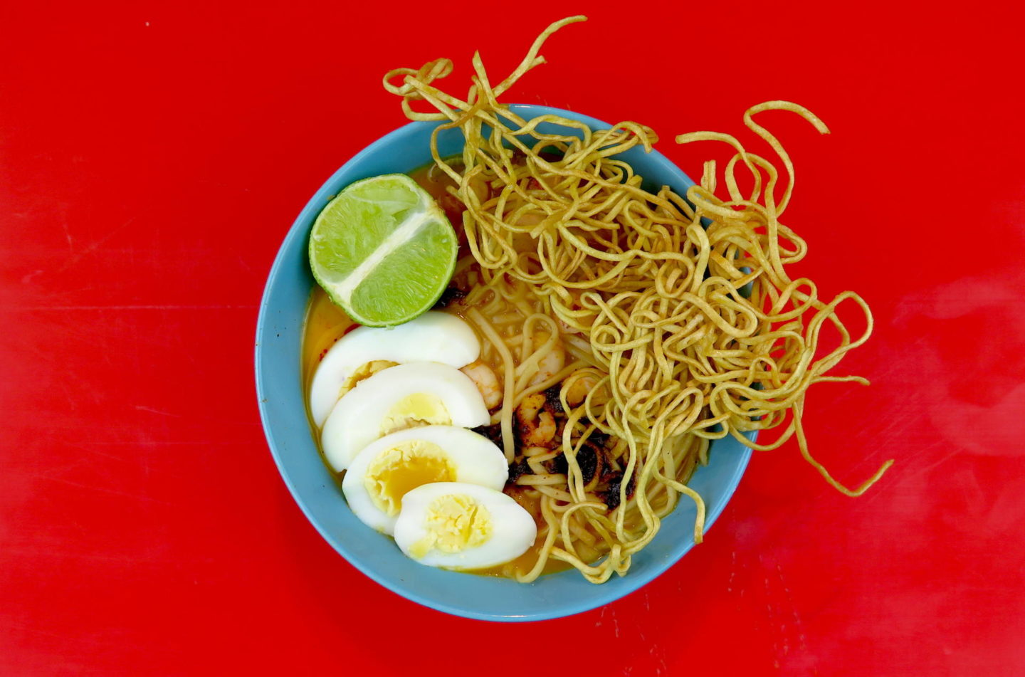 COCONUT & KING PRAWN SOUP WITH DEEP FRIED NOODLES